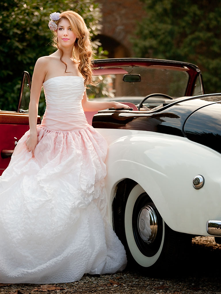 Fashion bridal gowns and vintage car Launceston